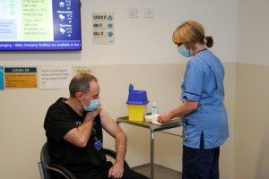Dr David Pedley receiving COVID-19 Vaccine